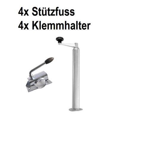 4x Stützfuss 4x Klemmhalter Anhänger 300Kg Trailer 48 mit Kurbel Spindel