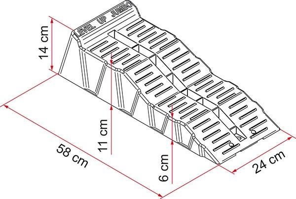 LEVEL UP grau Fiamma JUMBO + TASCHE Stufenkeil 2er Set Auffahrkeil Rampen