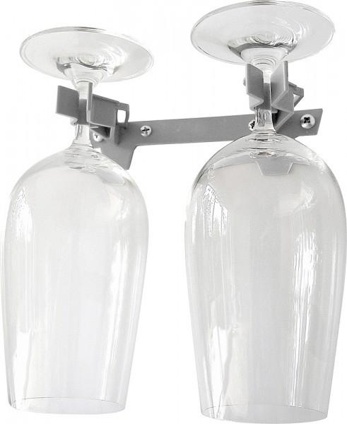 Mega-Klipp Doppelglashalter grau