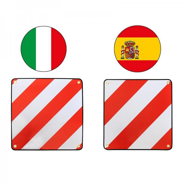 Warntafel Alu-Warntafel 50x50cm für Italien und Spanien 2 in 1 WENDBAR