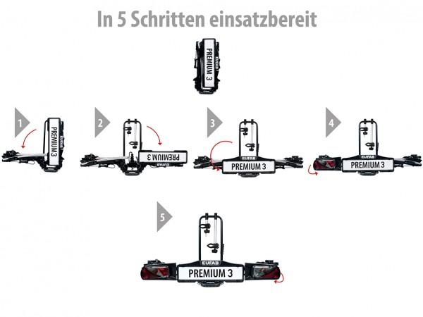 EUFAB Fahrradträger PREMIUM III 3 Fahrräder auch E-Bikes kupplungsträger
