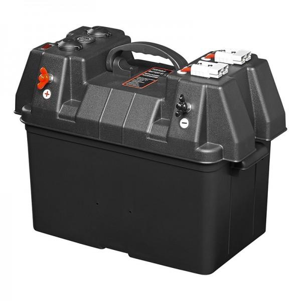 Batteriebox 30x20x20cm 2x USB 1x 12V Steckdose - Voltmeter 2x Anderson Stecker