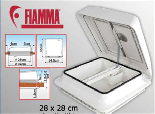 Fiamma VENT 28 x 28 28F Dachhaube mit Rahmen Dachfenster weiß weiss