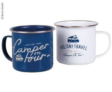 Holiday Travel Emaille-Becher BAY CITY, 2er Set, Weiß + Blau, 400ml