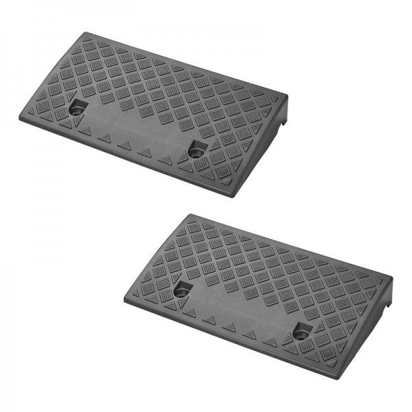 Bordsteinrampe 70mm schwarz Set von 2 Stück Auffahrkeil